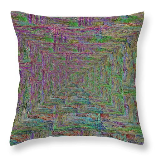Abstract Throw Pillow featuring the digital art Blue Green Abstract by Tim Allen