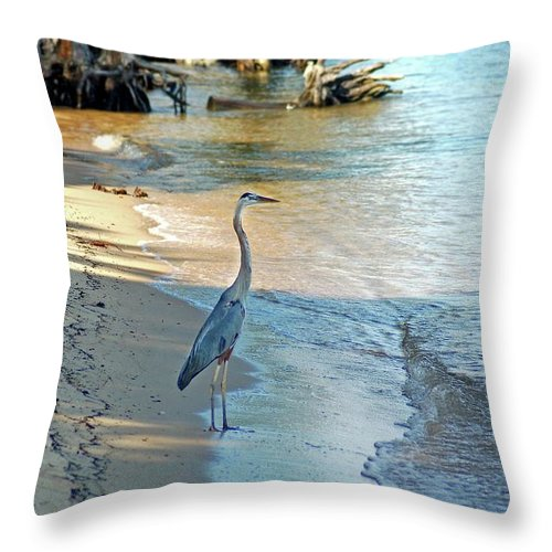 Alabama Photographer Throw Pillow featuring the painting Blue Heron On The Beach by Michael Thomas