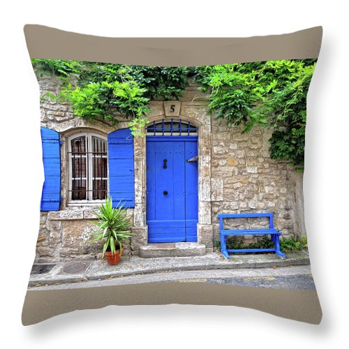 Blue Window Throw Pillow featuring the photograph Blue In Provence France by Dave Mills