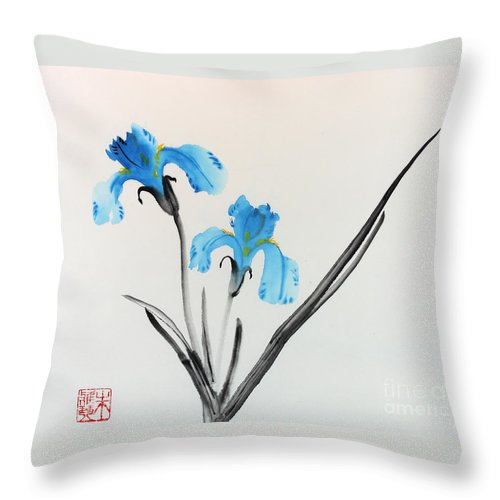 Blue Flower Throw Pillow featuring the painting Blue Iris I by Yolanda Koh