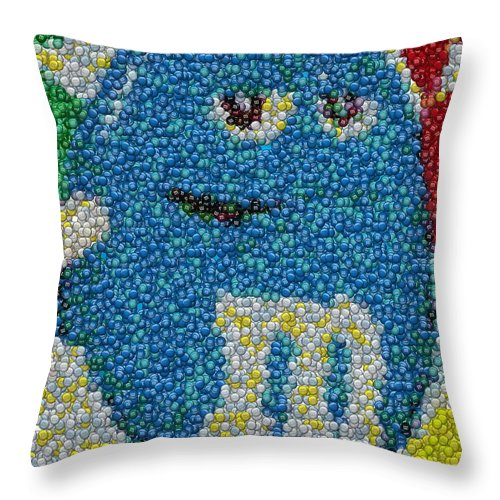 Mms Throw Pillow featuring the digital art Blue Mm Mosaic by Paul Van Scott