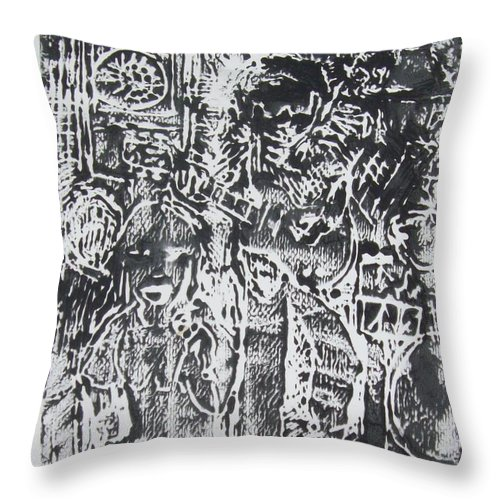Band Throw Pillow featuring the painting Blue Monday In Black by James Christiansen