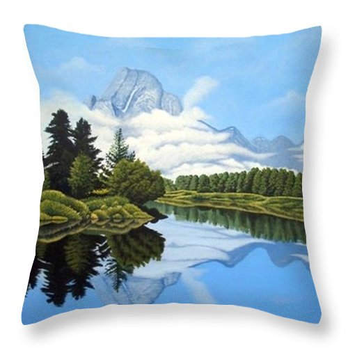 Landscape Throw Pillow featuring the painting Blue Morning by Rick Gallant