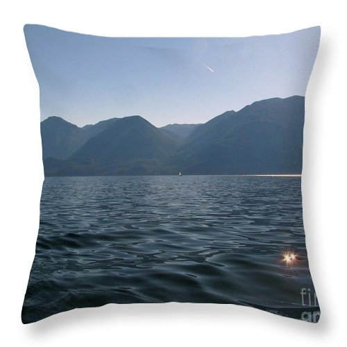 Kootenay Lake Throw Pillow featuring the photograph Blue On Blue by Leone Lund