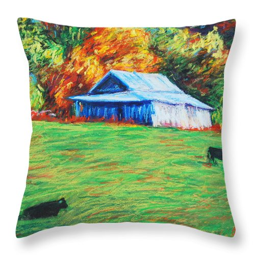 Blue Ridge Throw Pillow featuring the painting Blue Ridge Cows by Bethany Bryant