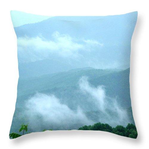 Fog Throw Pillow featuring the digital art Blue Ridge Fog High by Barkley Simpson