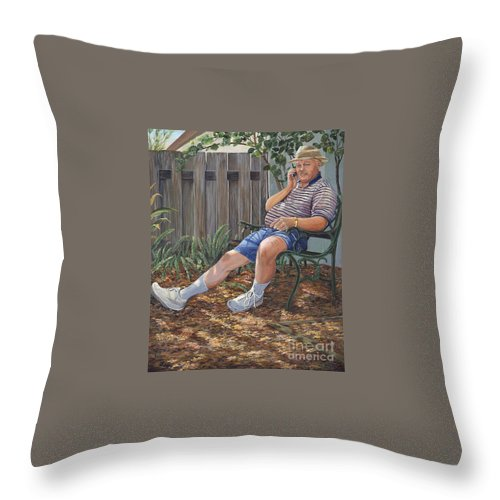 Sad Throw Pillow featuring the painting Blue Royal by AnnaJo Vahle