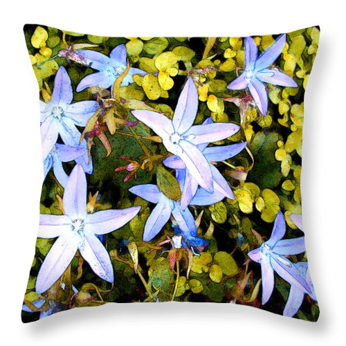 Flower Flowers Garden Star Blue Ground+cover Flora Floral Nature Natural Bloom Blooms Blossoms Blossom Bouquet Arrangement Colorful Plant Plants Botanical Botanic Blooming Gardens Gardening Tropical Throw Pillow featuring the painting Blue Star Flowers by Elaine Plesser