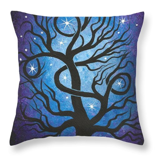 Tree Throw Pillow featuring the painting Blue Twisted Tree by Jordanka Yaretz