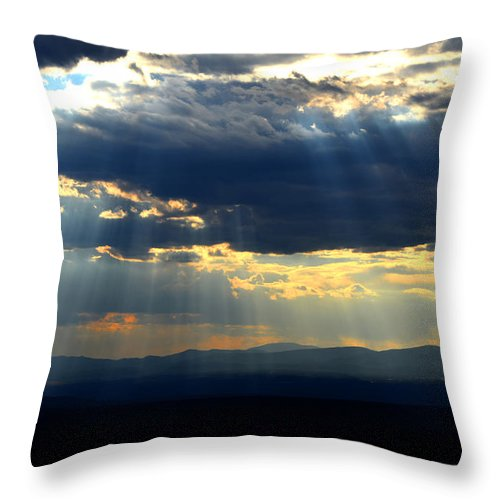 Desert Southwest Landscape Throw Pillow featuring the photograph Blueray Panorama by Susanne Still