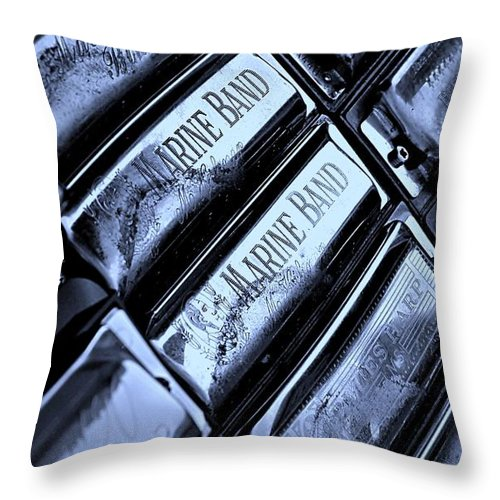 Music Throw Pillow featuring the photograph Blues Harps by Chris Berry