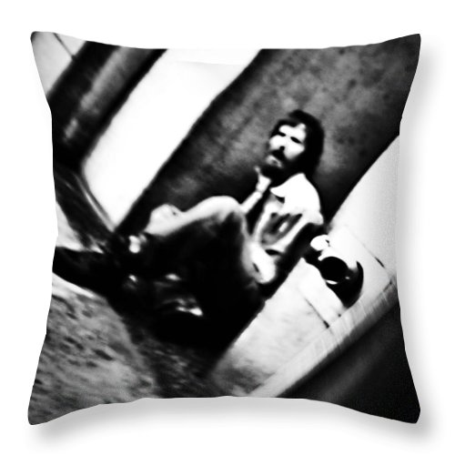 Black And White World Photographer Throw Pillow featuring the photograph Blurred Time by The Artist Project