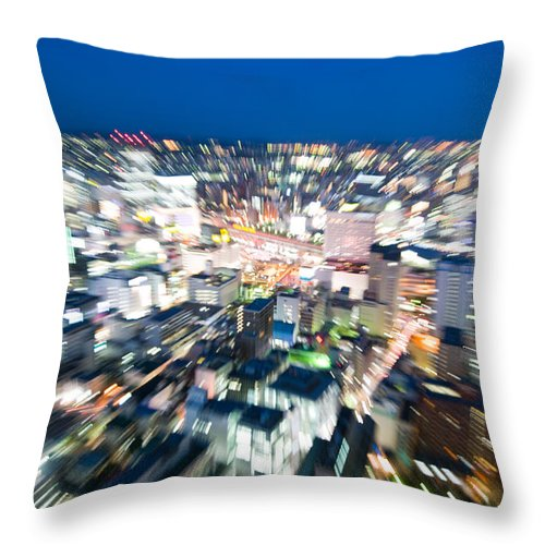 Abstract Throw Pillow featuring the photograph Blurred View Towards An Object by U Schade