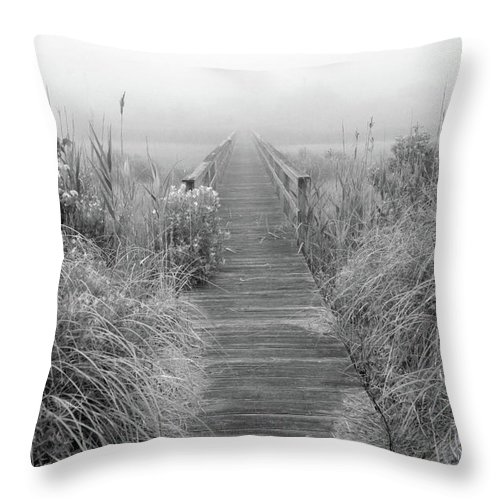 Quogue Wildlife Preserve Throw Pillow featuring the photograph Boardwalk In Quogue Wildlife Preserve by Rick Berk