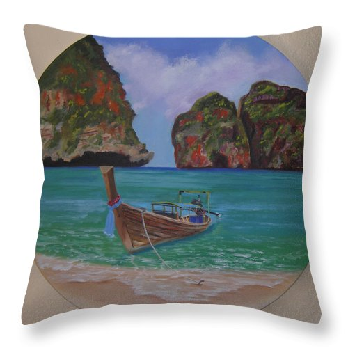 Seascape Throw Pillow featuring the painting Boat At Ko Phi Phi by Mark Perry