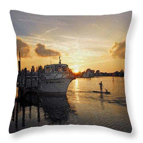 Boat Throw Pillow featuring the photograph Boat Plastic Sunset by G Adam Orosco