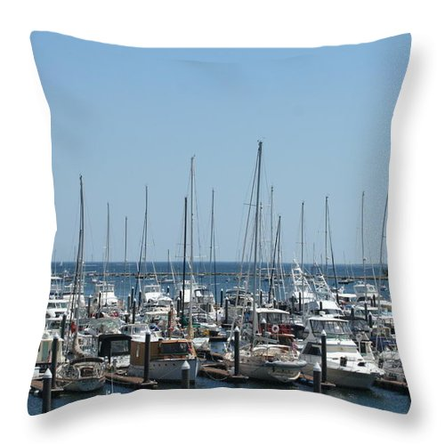 Photography Throw Pillow featuring the photograph Boat Slips by Barbara S Nickerson