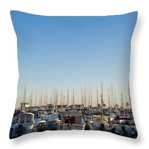 Alcudia Port Throw Pillow featuring the photograph Boats In Alcudias Port, Mallorca by Axiom Photographic