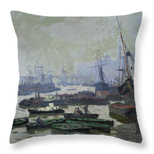 Boats Throw Pillow featuring the painting Boats In The Pool Of London by Claude Monet