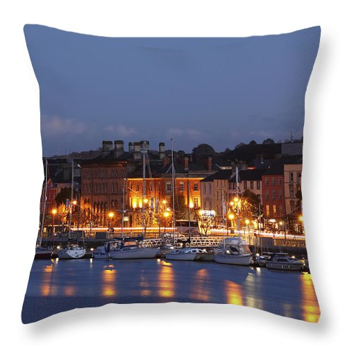 Buildings Throw Pillow featuring the photograph Boats Moored On River Suir At City by Trish Punch