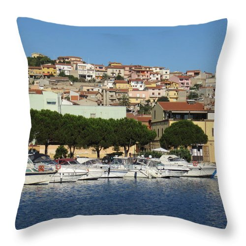 Boats Throw Pillow featuring the photograph boats of Sant Antioco III by Len Yurovsky