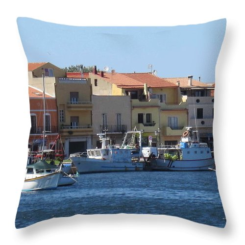 Boats Throw Pillow featuring the photograph boats of Sant Antioco by Len Yurovsky