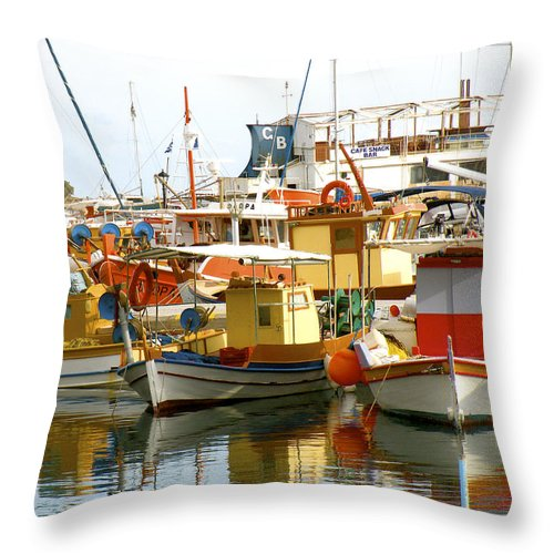 Santorini Throw Pillow featuring the photograph Boats On Santorini by Stacey Granger