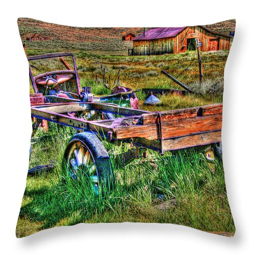 Hdr Throw Pillow featuring the photograph Bodie Vintage Flatbed by Chris Brannen
