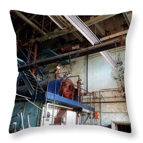 Abandoned Throw Pillow featuring the photograph Boiler by Maglioli Studios