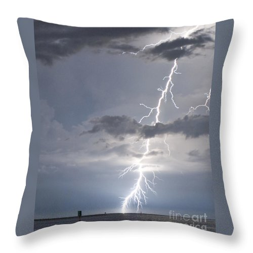 Lightning Throw Pillow featuring the photograph Bolt Out Of The Blue by Stephen Whalen