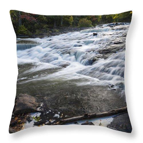 Bond Throw Pillow featuring the photograph Bond Falls Upper 1 by John Brueske