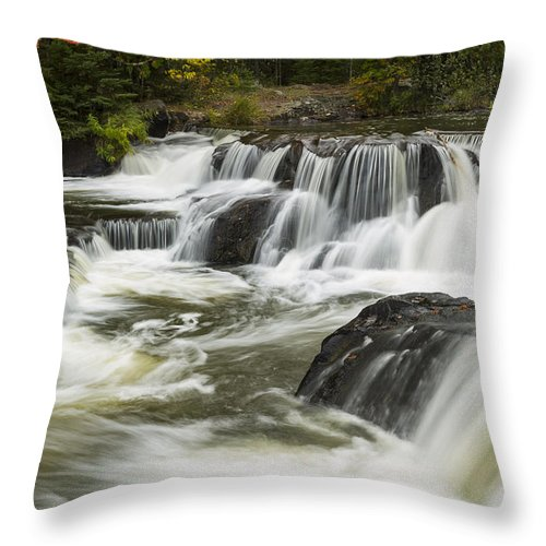 Bond Throw Pillow featuring the photograph Bond Falls Upper 4 by John Brueske
