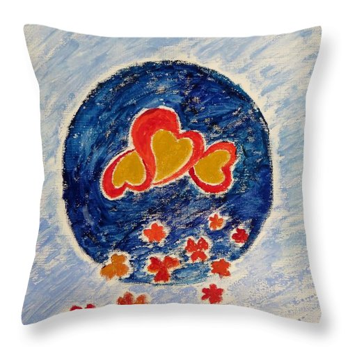 Gold Magnanimous Hearts Reflecting Love Throw Pillow featuring the painting Bonding by Sonali Gangane