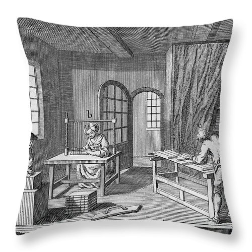 1763 Throw Pillow featuring the photograph Bookbinder, 1763 by Granger