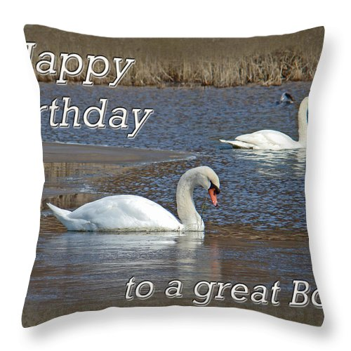 Boss Throw Pillow featuring the photograph Boss Birthday Card - Mute Swans On Winter Pond by Mother Nature