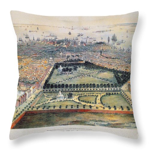 1850 Throw Pillow featuring the photograph Boston, 1850 by Granger