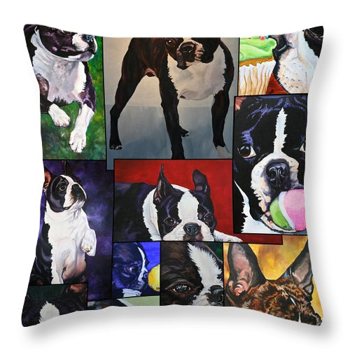 Animal Throw Pillow featuring the painting Boston Acrylic Collage by Susan Herber