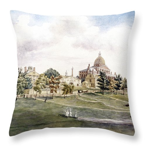 1809 Throw Pillow featuring the photograph Boston: Beacon Street by Granger