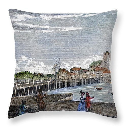 1786 Throw Pillow featuring the photograph Boston: Charles River, 1789 by Granger