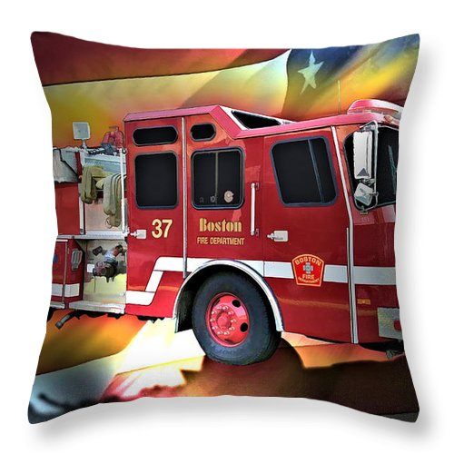 Boston Throw Pillow featuring the digital art Boston Engine 37 by Tommy Anderson
