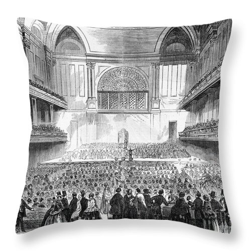 1856 Throw Pillow featuring the photograph Boston: Music Hall, 1856 by Granger