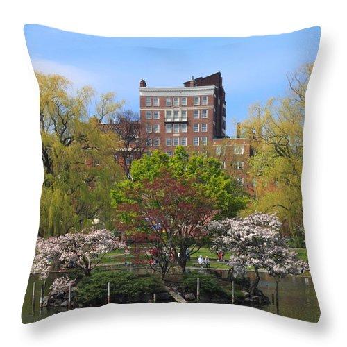Boston Public Garden Throw Pillow featuring the photograph Boston Public Garden Pond In Spring by John Burk