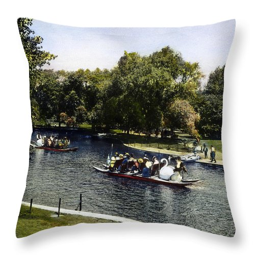 1900 Throw Pillow featuring the photograph Boston: Swan Boats, C1900 by Granger