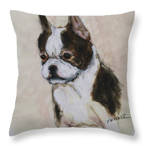 Boston Terrier Throw Pillow featuring the painting Boston Terrier Puppy Love by Ron Hevener