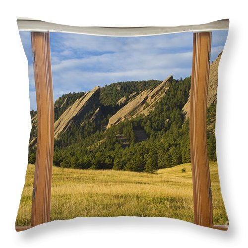 Flatiron Throw Pillow featuring the photograph Boulder Colorado Flatirons Window Scenic View by James BO Insogna