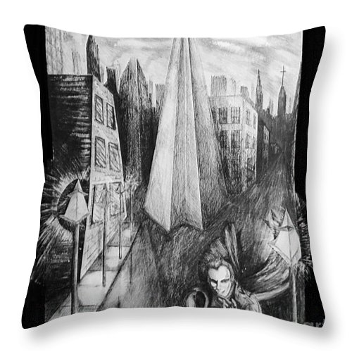 City Throw Pillow featuring the mixed media Boulevard Of Broken Dreams by Rebecca Stephens