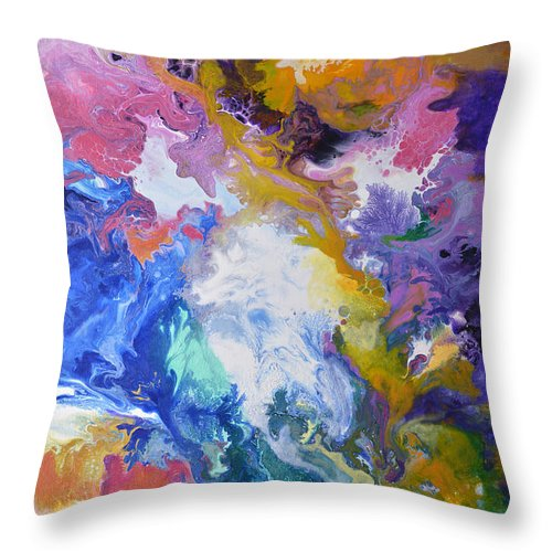Abstract Throw Pillow featuring the painting Boundaryless by Sally Trace