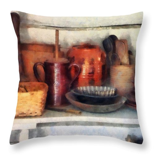 Bowl Throw Pillow featuring the photograph Bowls Basket And Wooden Spoons by Susan Savad