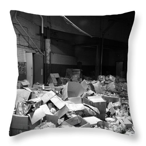 Abandoned Throw Pillow featuring the photograph Boxed by Maglioli Studios