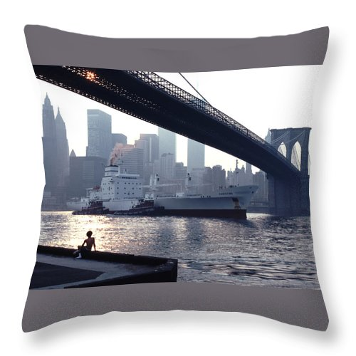 Awesome Throw Pillow featuring the photograph Boy Freighter Brooklyn Bridge Sunset by Tom Wurl